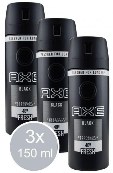 44651_3x_150ml_Axe_Black_Aromatisch_Würzig_Bodyspray_Deodorant_0%_Aluminium