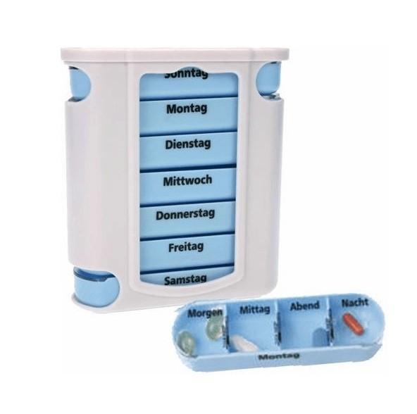 44637_Pillendose_7_Tage_Pillenbox_Pillenturm_Tablettenbox_Medikamentenbox_4_Fächer